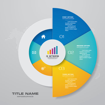 3 steps half cycle chart infographics elements for data presentation.