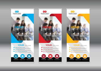 Business Roll Up. Standee Design. Banner Template. Presentation and Brochure Flyer.