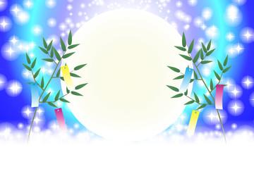 和風背景イラスト素材七夕祭り短冊笹飾り伝統行事天の川星屑