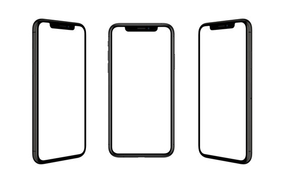 Black smart phone isolated in three positions. Isolated screen for mockup. Render for app design promotion.