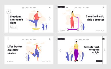 Active Characters on Urban Transport Landing Page Set. Man Riding Skateboard. Outdoor Sport Leisure Roller Skating Concept with Woman. Guy on Hoverboard Web Banner. Vector flat cartoon illustration