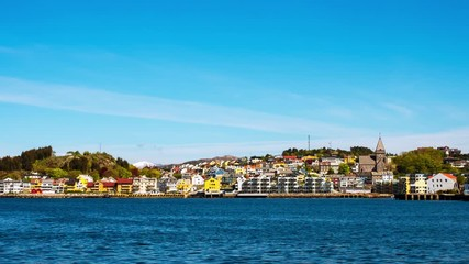 Wall Mural - Kristiansund, Norway. View of city center of Kristiansund, Norway during the sunny day. Port with historical buildings