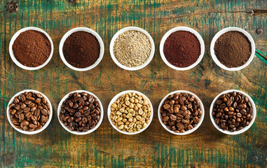 Neat still life of assorted coffee and beans Wall mural