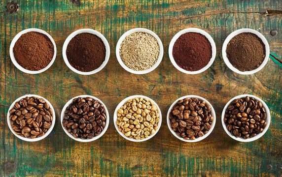 Neat still life of assorted coffee and beans