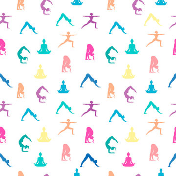 Women in yoga pose seamless pattern background