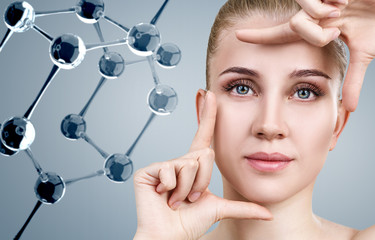 Young woman among glass molecules.