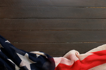 American flag on wooden background.The Flag Of The United States Of America. The place to advertise, template.