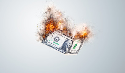 dollar bills falling to the ground - Flame