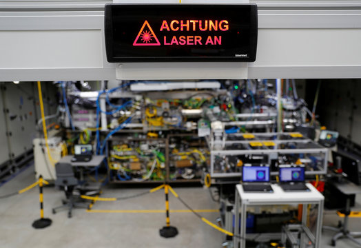 A general view shows the assembling area of a CO2 laser at Trumpf, a hidden Champion of the German Mittelstand that supplies CO2 laser technology to Dutch ASML and the leader of semiconductor lithography machines, at the Trumpf headquarters in Ditzingen