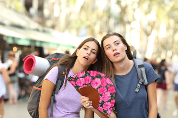 Backpackers suffering heat stroke on vacation