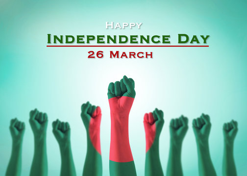 Happy independence day 26 March with Bangladesh national flag pattern on leader's fist on green blue sky