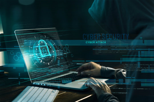 Cyber security concept. Internet crime. Hacker working on a code and network with lock icon on digital interface virtual screen dark digital background.