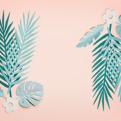 Wall Mural - Frame made with turquoise tropical leaves  on pastel pink background, top view, flat lay. Creative botanical layout. Copy space