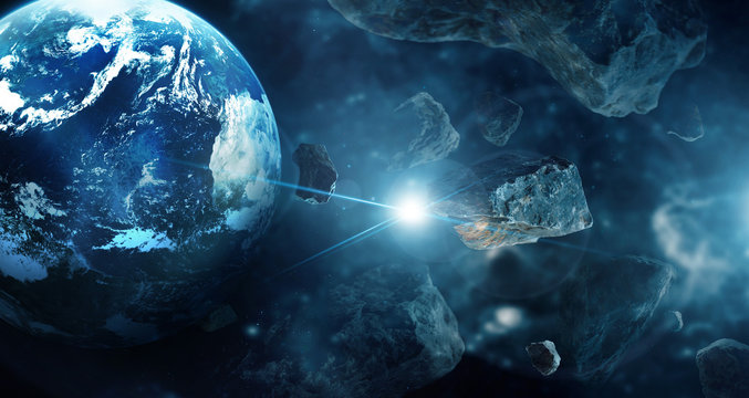 Meteorites in deep space planets. Asteroids in distant solar system. Science fiction concept. .