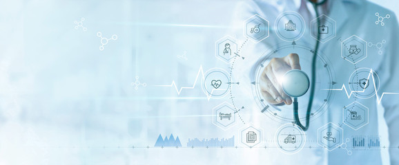 Medicine doctor with stethoscope in hand and icon insurance for health. Medical network connection on virtual screen interface. Innovation and modern medical technology concept