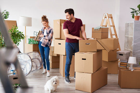 Young couple packing their stuff into boxes