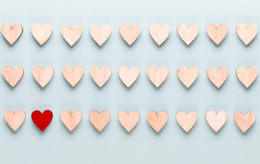 Happy Valentines day background. With small hearts on pastel background.
