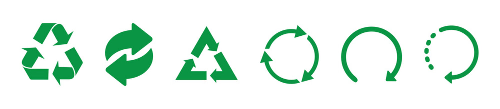 Recycle green vector icons. Recycle icons isolated on white background