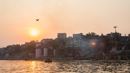 Sunset view of skyline of ghats of Varanasi in India