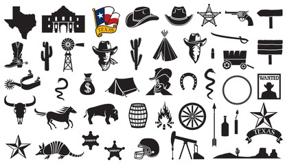 Texas vector icons set (flag, the Battle of the Alamo design, map, spurs, cowboy head, horse, gun, arrow, cactus, sheriff star, hat, boot, horseshoe, football helmet, oil pump jack, bull skull) Wall mural