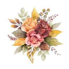 Watercolor vector autumn arrangement with roses and leaves isolated on white background.