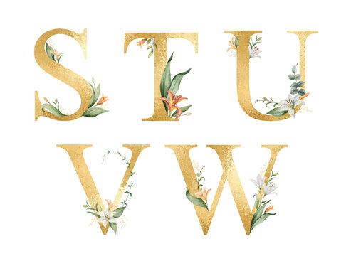 Golden vector glitter alphabet with watercolor flowers.