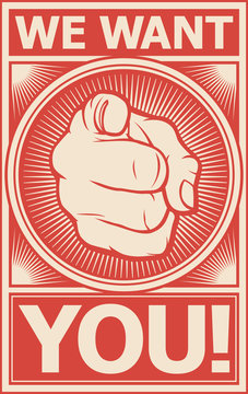 we want you vector poster