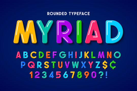 Flat bubble comical font design, colorful alphabet, typeface