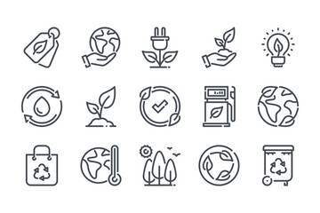 Environment related line icon set. Ecology and nature linear icons. Eco friendly outline vector sign collection. Wall mural