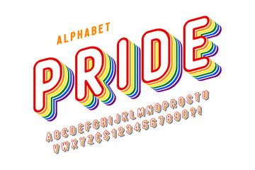 Original display rainbow font design, alphabet, letters