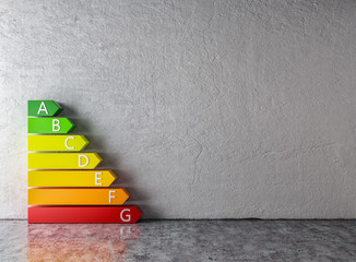 Energie sparen - Bunte Pfeile vor Wand