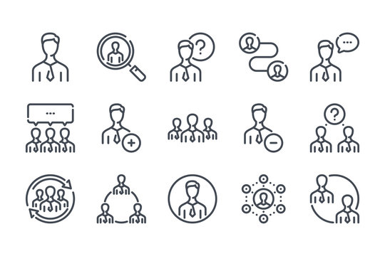 People related line icon set. Person linear icons. User and group outline vector sign collection.