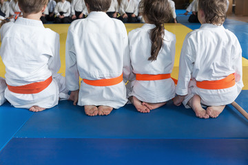 Foto op Aluminium Vechtsport Group of children in kimono sitting on tatami
