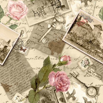 Vintage old paper with hand written letters, photos, stamps, keys, watercolor rose flowers for scrap booking