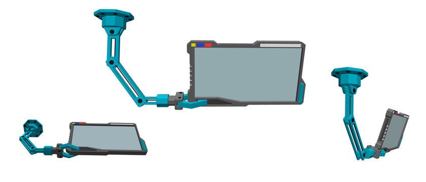Robotic arm with futuristic monitor. 3d Vector illustration.