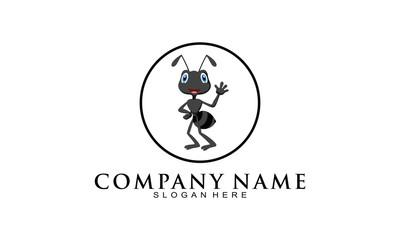 Black ant cartoon logo