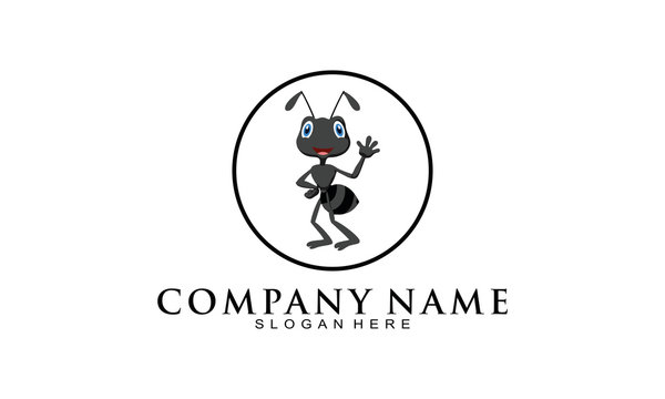 Black ant cartoon logo