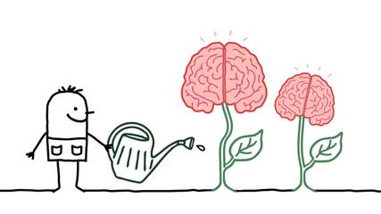 Cartoon Man Watering Growing Brains
