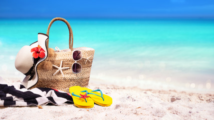 Beach Bag On Seashore - Summer At Sea