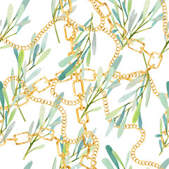 watercolor seamless pattern olives branches and golden chain exotic summer print; for the textile fabric and wallpapers