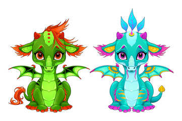 Foto auf AluDibond Kinderzimmer Baby dragons with cute eyes and smile