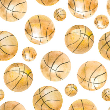 Hand painted watercolor seamless pattern basketball, elements game