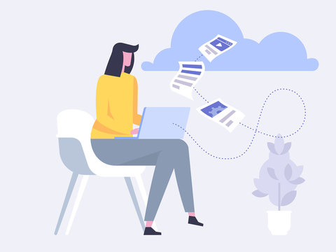 Cloud Backup. Man with laptop. Network cloud service.