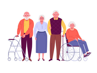 Group of senior citizens. Vector illustration of smiling adult men and women with assistive devices, such as four wheeled walker, walking stick and wheelchair. Isolated on white.