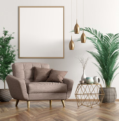 Fototapeta Interior with armchair and coffee table 3d rendering obraz