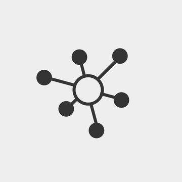 Connection vector icon solid grey