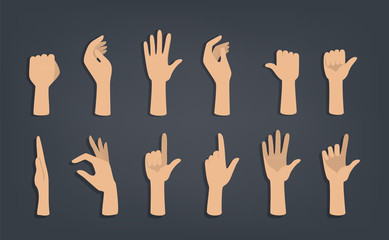 Set of hands showing different gestures. Wall mural