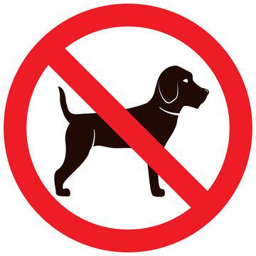 No dog sign.Pet animal beagle.Cartoon character silhouette.Line art flat vector.