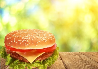 Hamburger on white background, menu for cafe and fast-food restaurant