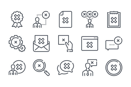 Cancellation related line icon set. Negative result linear icon collection. Decline and cancel vector icons.